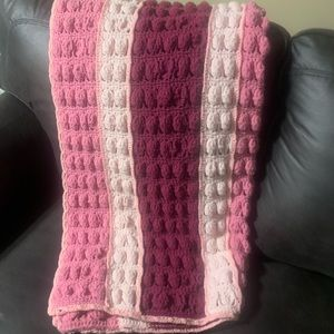 Hand knitted throw blanket super soft!